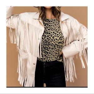 Vegan faux leather fringe jacket